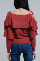 Sweater With Off the Shoulder Detail and Ruffle Detail in Rust