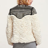 Fleece Rivet Faux Fur Patchwork Long Sleeve Coat