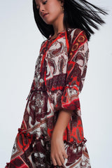 Orange Paisley Print Smock Dress