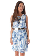 Blue Ink Drop Skater Dress