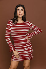 Striped Knit Burgundy Dress by Si Fashion