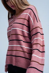 Pink Striped v Neck Jumper