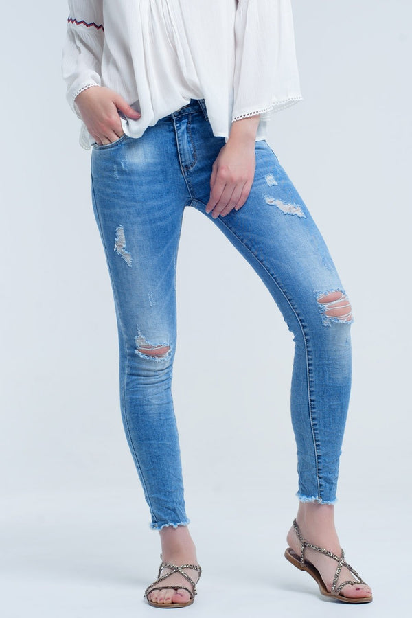 Jeans With Rips and Wrinkles