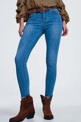Light Denim Super Skinny Jeans With Cut Off Ankle