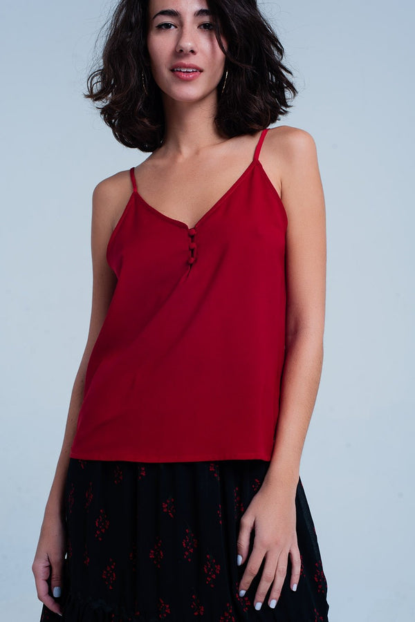Red Cami Top With Buttons