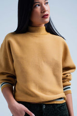 Mustard Glitter Sweater With Mock Neck