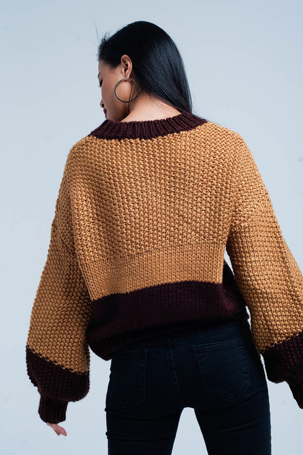 Brown Chunky Knitted Sweater