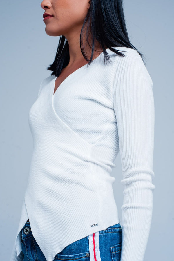 Cream Ribbed V-Neck Sweater