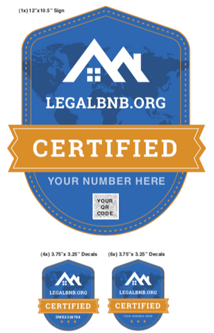 Airbnb Yard Sign + 5 Decals with Your Property License Number & QR Code