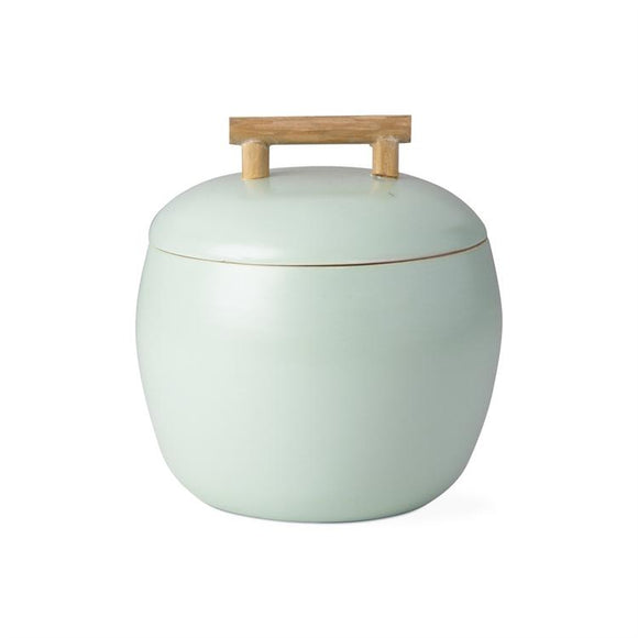 Round Bamboo Lidded Container in Aqua