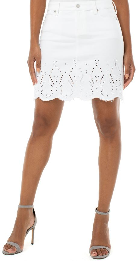 Bright White Raw Hem Skirt with Embroidery