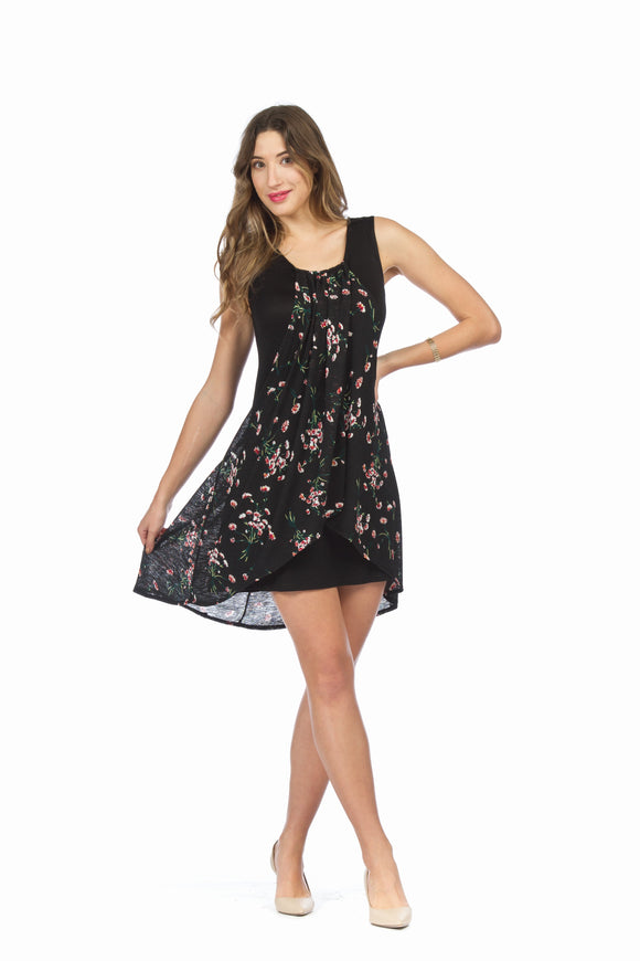 Dress with Floral Overlay
