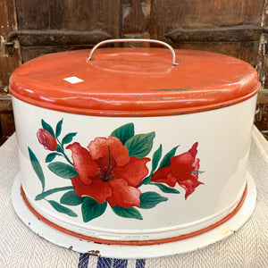 Vintage Red and White Metal Cake Carrier