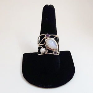Moonstone, Pearl and Amethyst Ring
