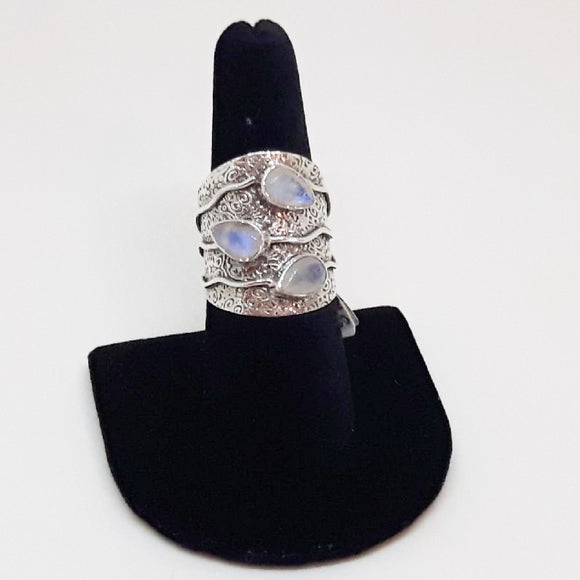 Three Moonstone Wide Sterling Ring