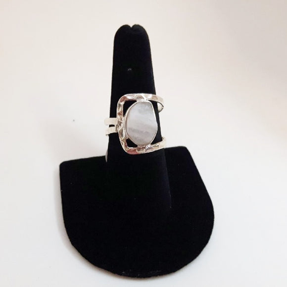 Square Raw Moonstone Ring