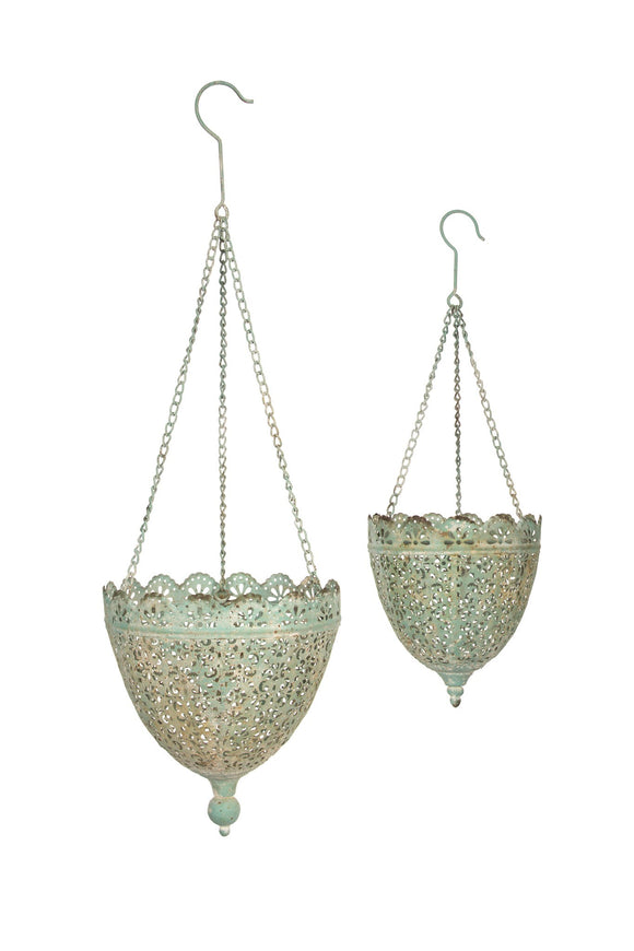 Hanging Teal Metal Pot Holders (Set of 2)