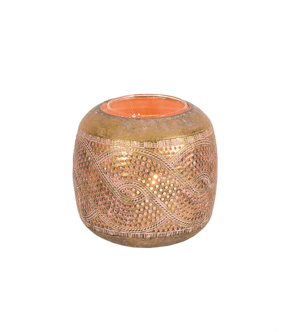 Pink and Gold Metal Tealight Holder