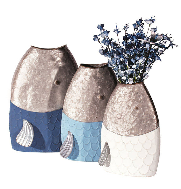 Metal Fish Planter Set of 3