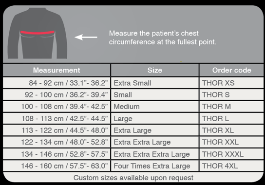 Thor chest compression binder sizing guide