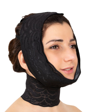 Calla Lace - Chin & cheek compression with neck band and optional pouches for cold packs