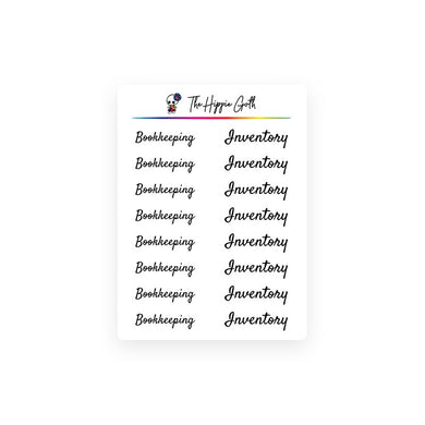Bookkeeping and Inventory Stickers
