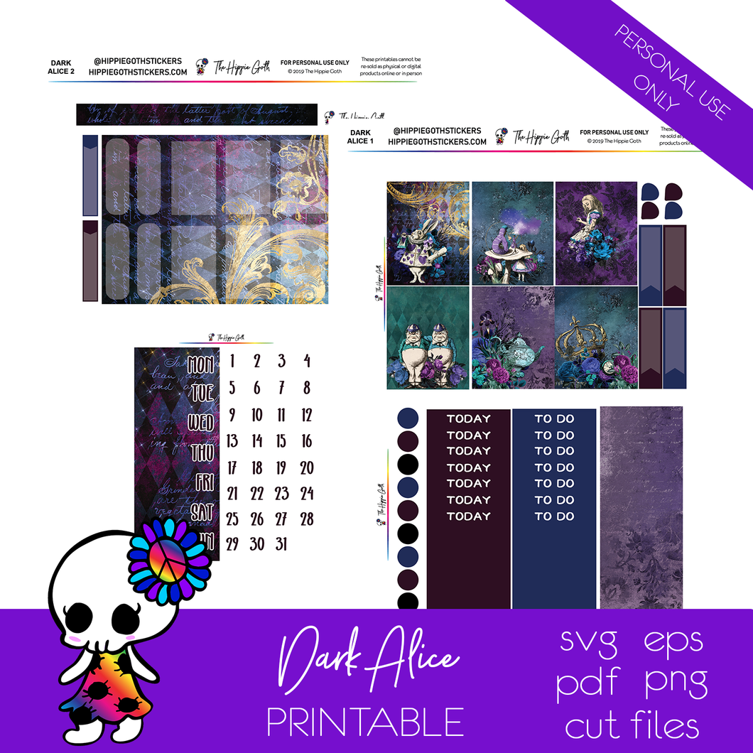 Dark Alice Weekly Kit Printable