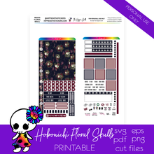 Load image into Gallery viewer, Floral Skulls Hobonichi Weeks Printable