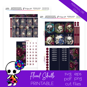 Floral Skulls Weekly Kit Printable
