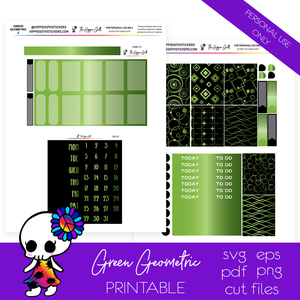 Green Geometric Weekly Kit Printable