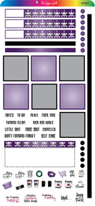 Purple and Black Hobonichi Functional Stickers