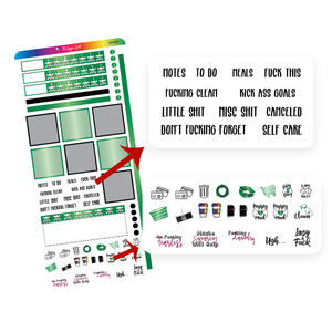 Green and Black Hobonichi Functional Stickers