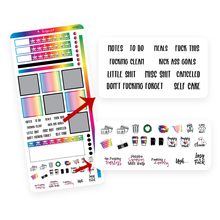 Load image into Gallery viewer, Rainbow and Black Hobonichi Functional Stickers