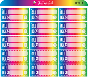 Bill Due Rainbow Hobonichi Functional Stickers