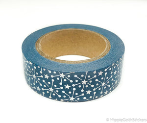 Blue and Silver Foil Snowflake Washi