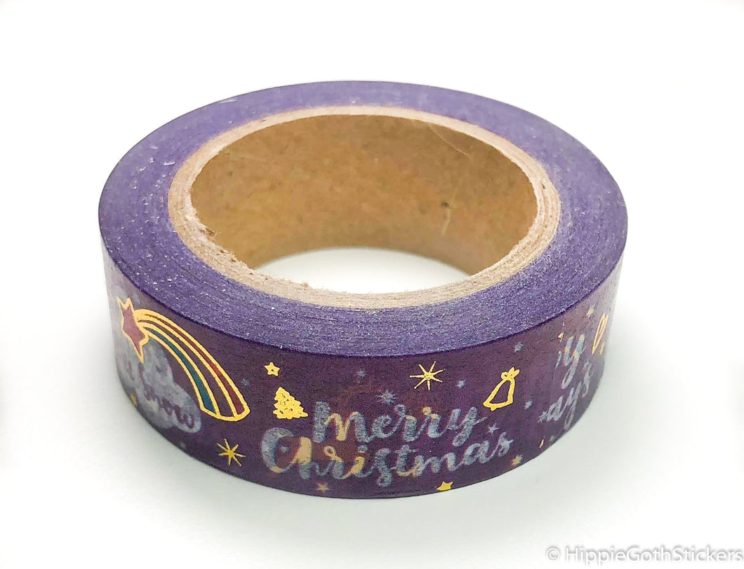 Purple Merry Christmas Gold Foil Washi