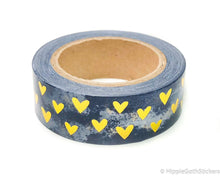 Load image into Gallery viewer, Blue Marble and Gold Foil Hearts Washi