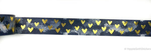 Blue Marble and Gold Foil Hearts Washi
