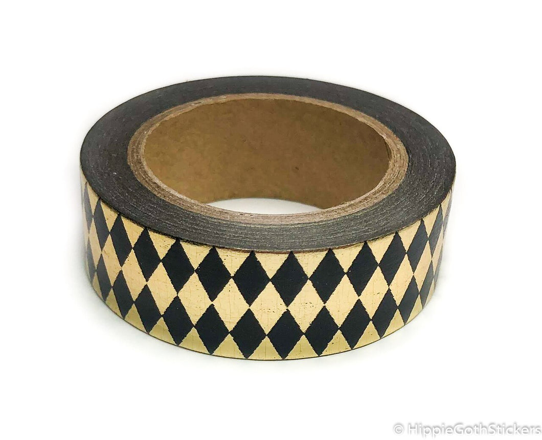 Black and Gold Foil Diamond Washi