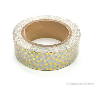 Blue and Gold Foil Dots Washi