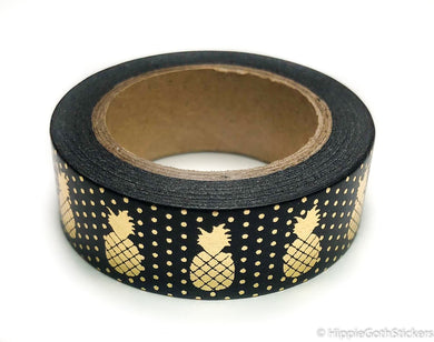 Black and Gold Foil Pineapple Washi