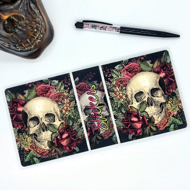 Floral Skull 4.5 x 4 Sampler Size Sticker Album