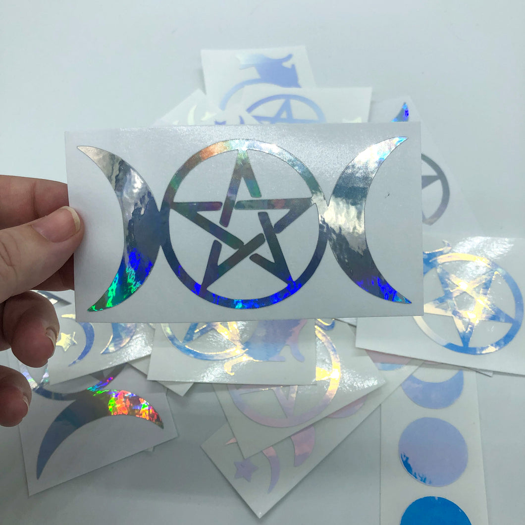 Triple Goddess with Pentacle Silver Holographic Vinyl Decal