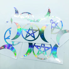 Load image into Gallery viewer, Triple Goddess with Pentacle Silver Holographic Vinyl Decal