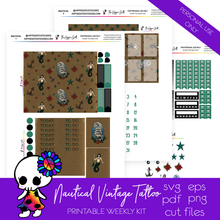 Load image into Gallery viewer, Nautical Vintage Tattoo Weekly Kit Printable