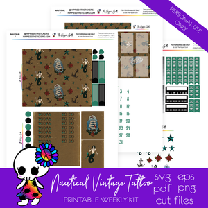 Nautical Vintage Tattoo Weekly Kit Printable