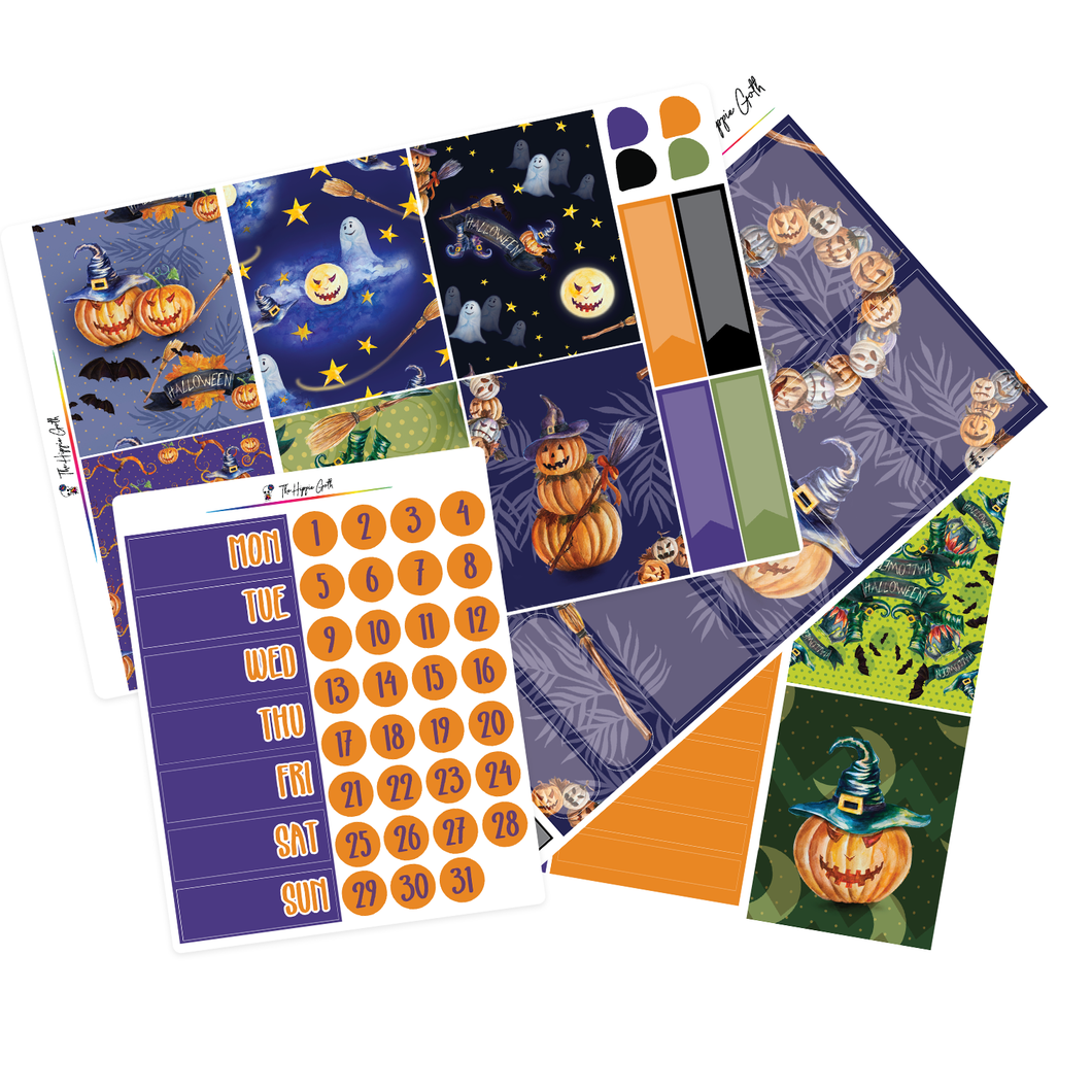 Halloween Purple Watercolor Weekly Kit