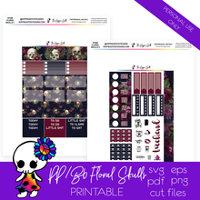 Load image into Gallery viewer, Floral Skulls PP Weeks/B6 TN Printable