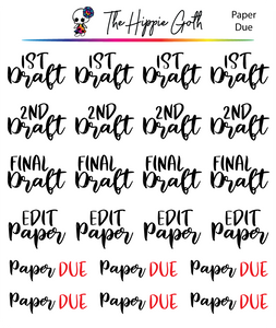Paper Due Script Stickers