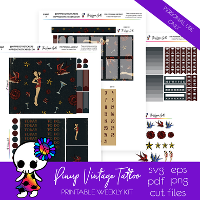 Pinup Vintage Tattoo Weekly Kit Printable